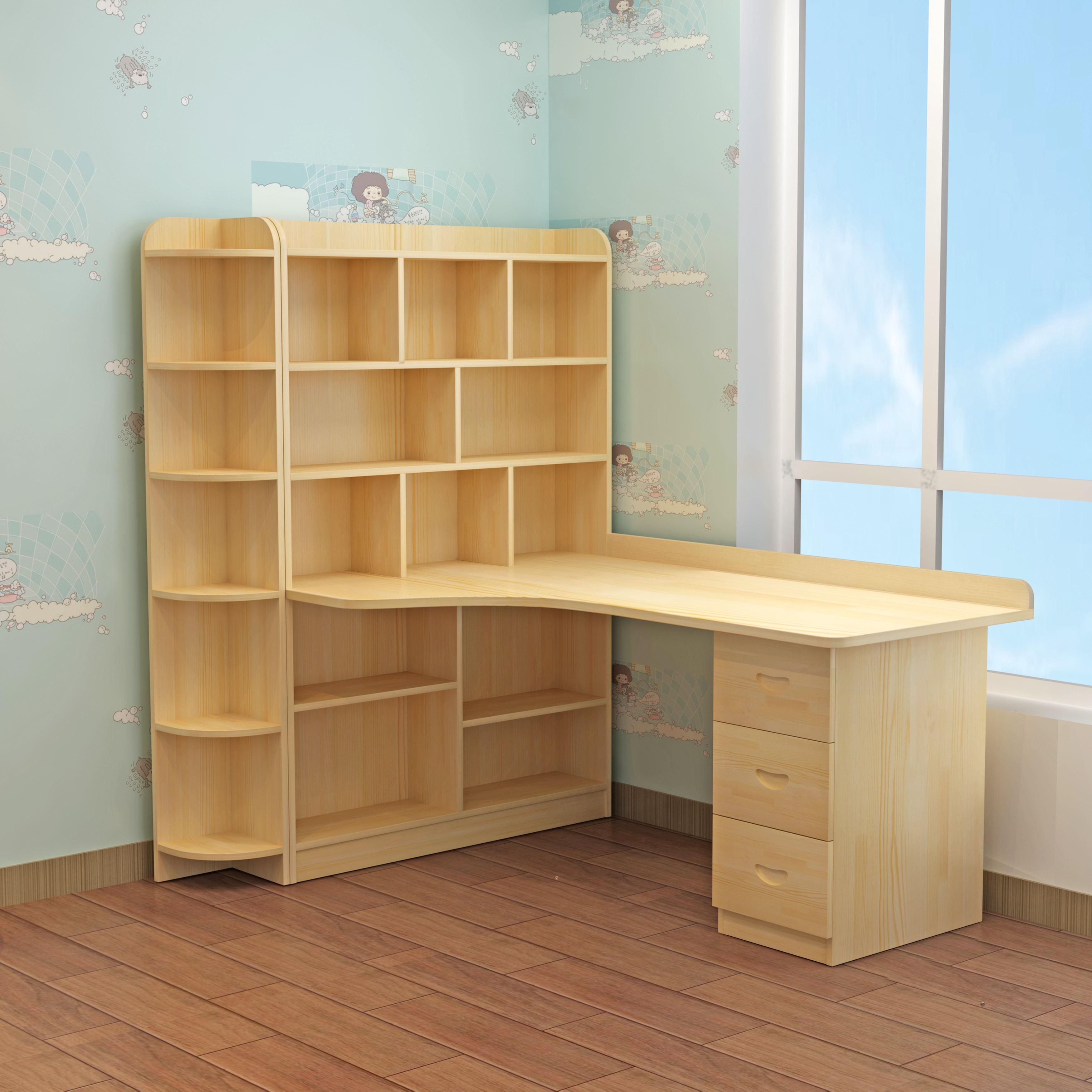实木转角台式电脑桌书桌家用卧室拐角书架组合书柜儿童学习写字台