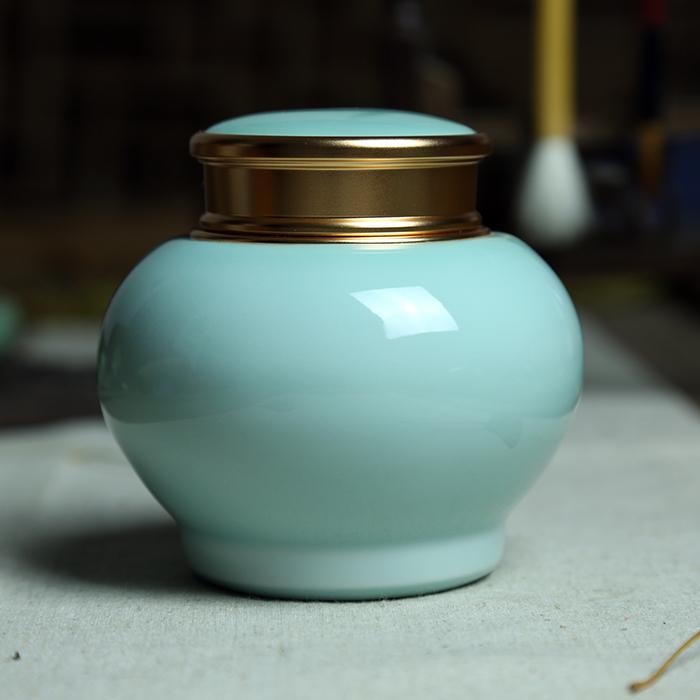 精品龍泉青瓷大碼錫罐手工茶葉罐陶瓷紫砂大號茶具精品普洱密封罐