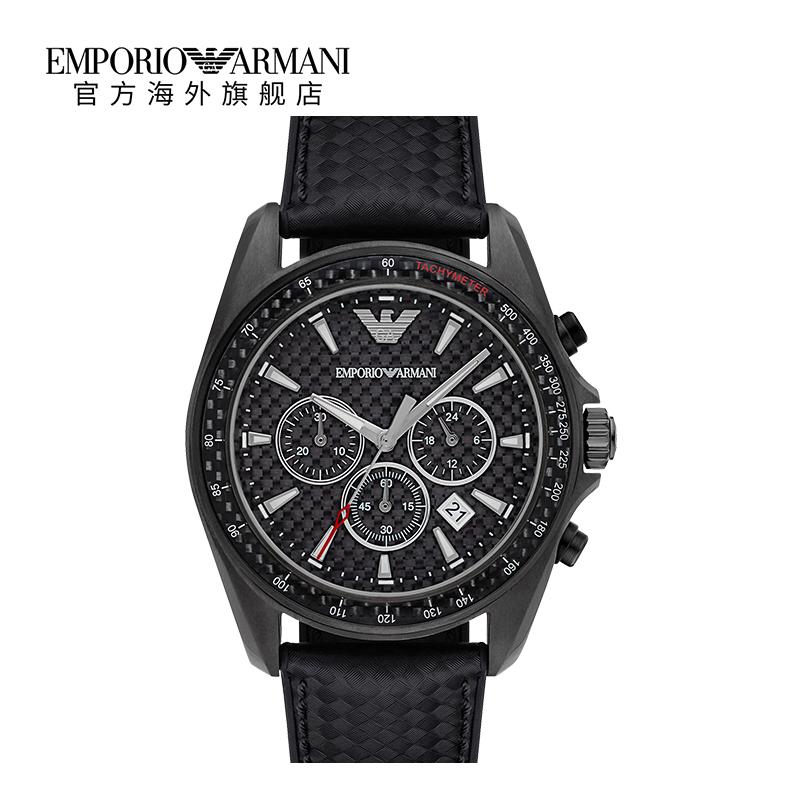 Armani阿玛尼官方旗舰店正品 时尚个性潮流黑色皮带手表男AR6122