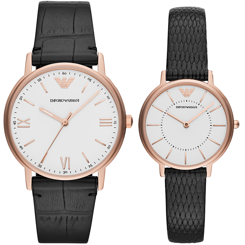 【官方】Armani 阿玛尼正品皮带情侣手表时尚男女石英腕表AR80015
