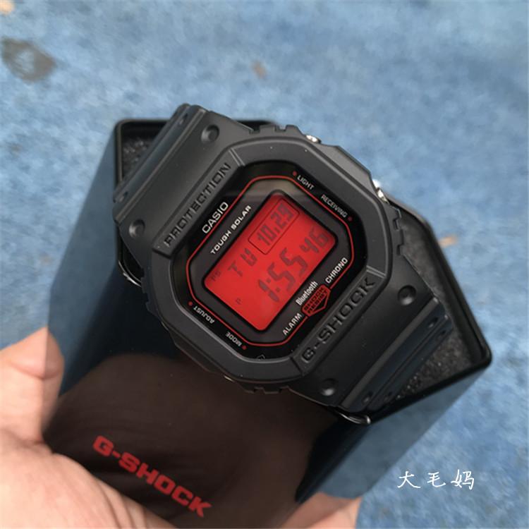 限定雪鹤屏光能电波蓝牙表 GSHOCK 男女 1 B5600AR GW 卡西欧红色方块