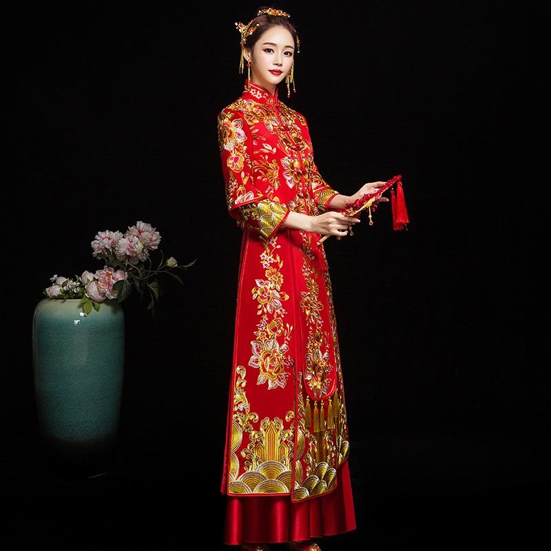 大码秀禾服新娘2019新款中式结婚礼服秀禾200斤胖mm孕妇女出阁服