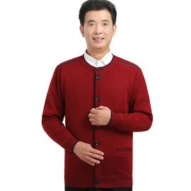 秋冬中老年人爷爷加绒加厚毛衣外套中年爸爸男士圆领保暖羊毛开衫