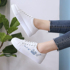 Leather white shoes female students 2021 spring and autumn new wild flat bottom shoes tide shoes ins casual sports shoes