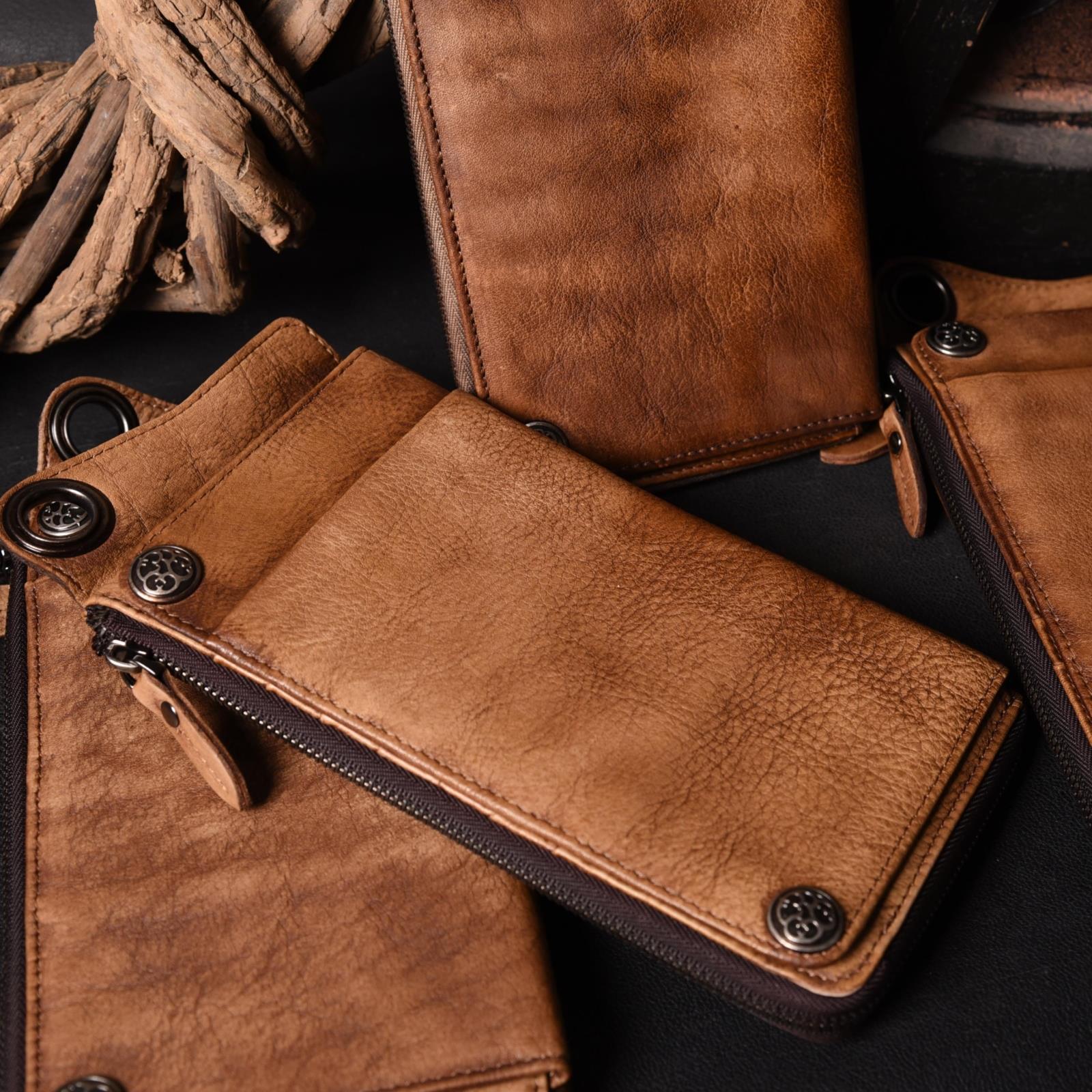 真皮做旧钱包卡包一体包男士多卡位手包长款大容量拉链手机包牛皮