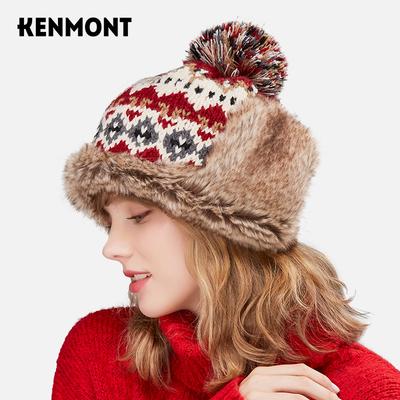 卡蒙日系甜美加厚保暖护耳针织毛线帽女秋冬户外加绒可爱毛球帽