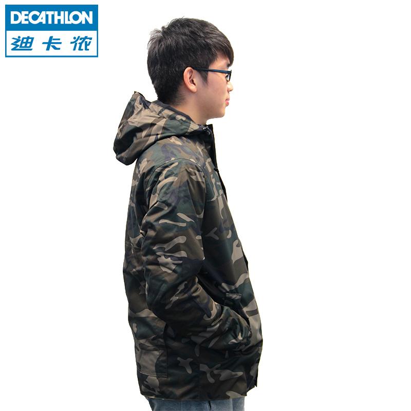 SOLOGNAC 外套夹克 男秋冬季保暖防水防风加厚 迪卡侬迷彩冲锋上衣