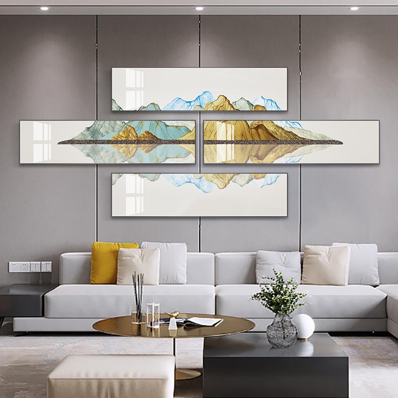 轻奢客厅装饰画组合创意大气沙发背景墙挂画招财风水壁画背有靠山