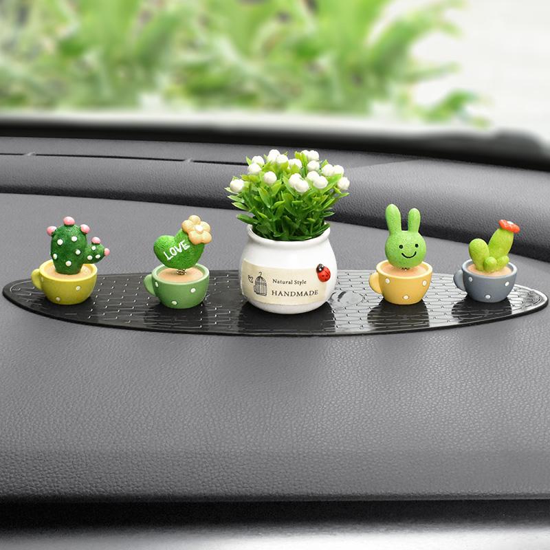 车载摆件个性创意车内装饰品可爱女网红汽车中控台漂亮摇头小植物