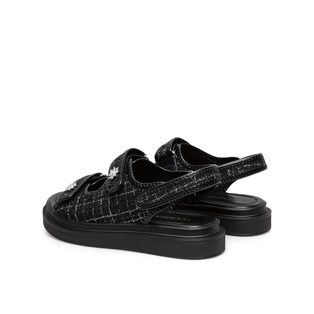 1LDL3BL1 夏季新款魔术贴厚底休闲凉鞋 2021 天美意小香风平底凉鞋女