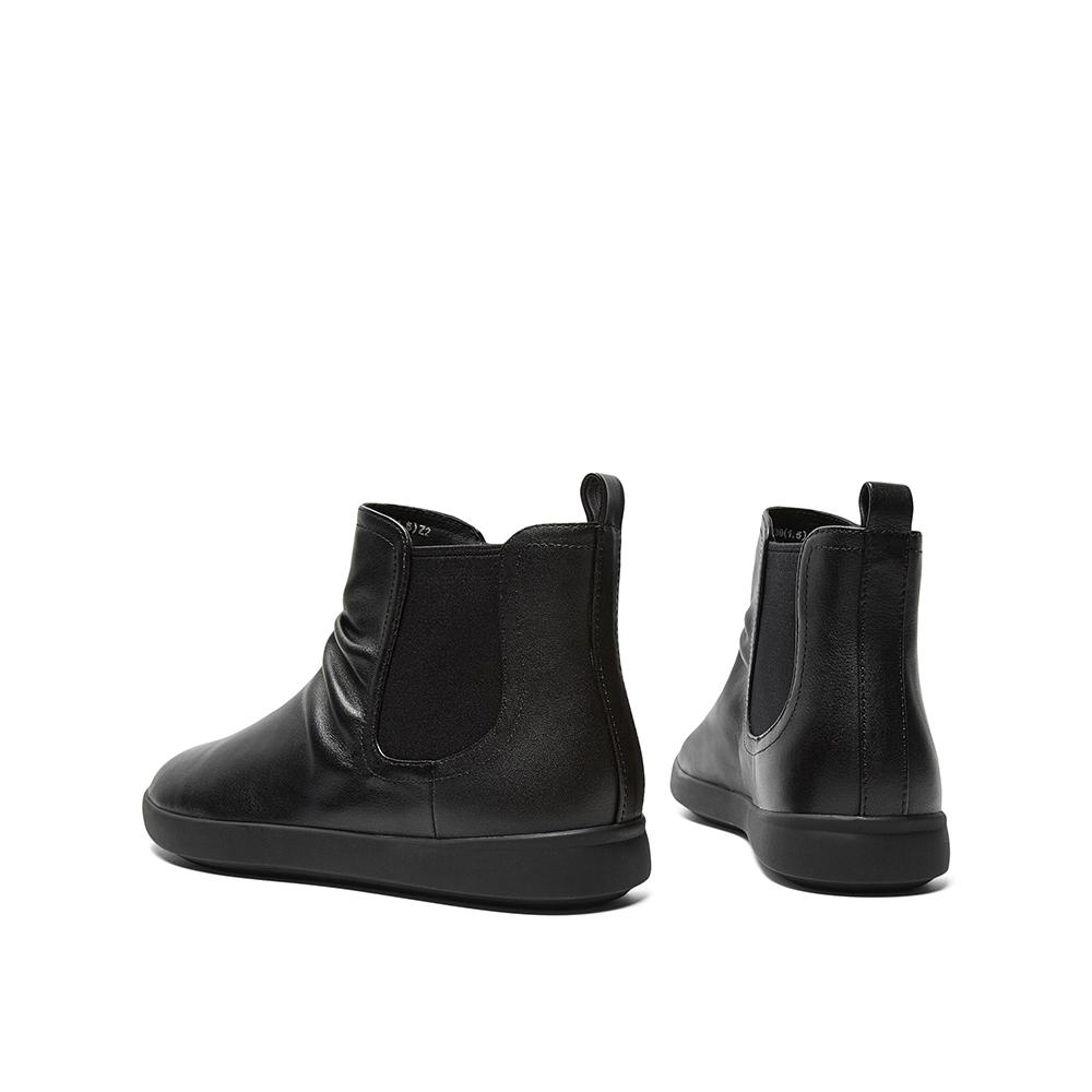 CKL41DD9 秋冬切尔西短靴女褶皱休闲皮靴 2019 天美意 商场同款