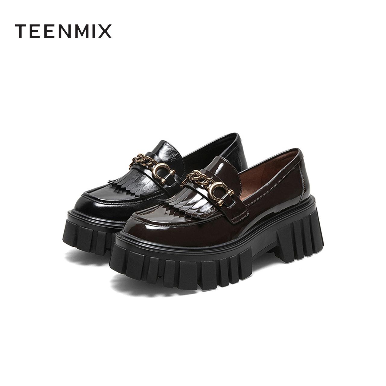 CYT01AA1 春新款商场同款英伦流苏小皮鞋 2021 天美意厚底乐福鞋女