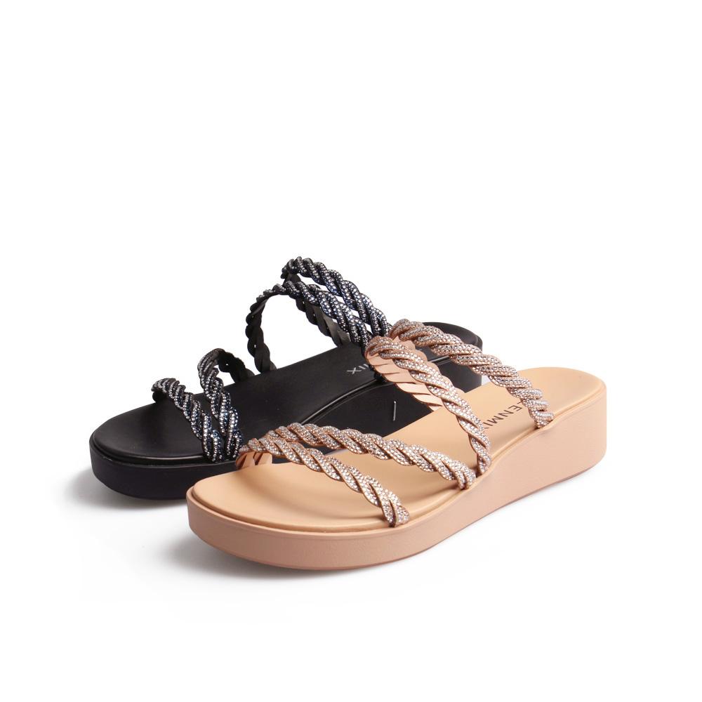 6Z942BT0 夏新款商场同款休闲闪钻凉拖女外穿厚底凉鞋 2020 天美意