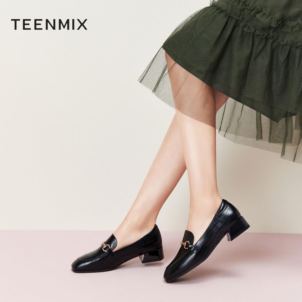 LFX04CQ0 风单鞋小皮鞋预 ol 秋季新款复古方头粗跟乐福女 2020 天美意