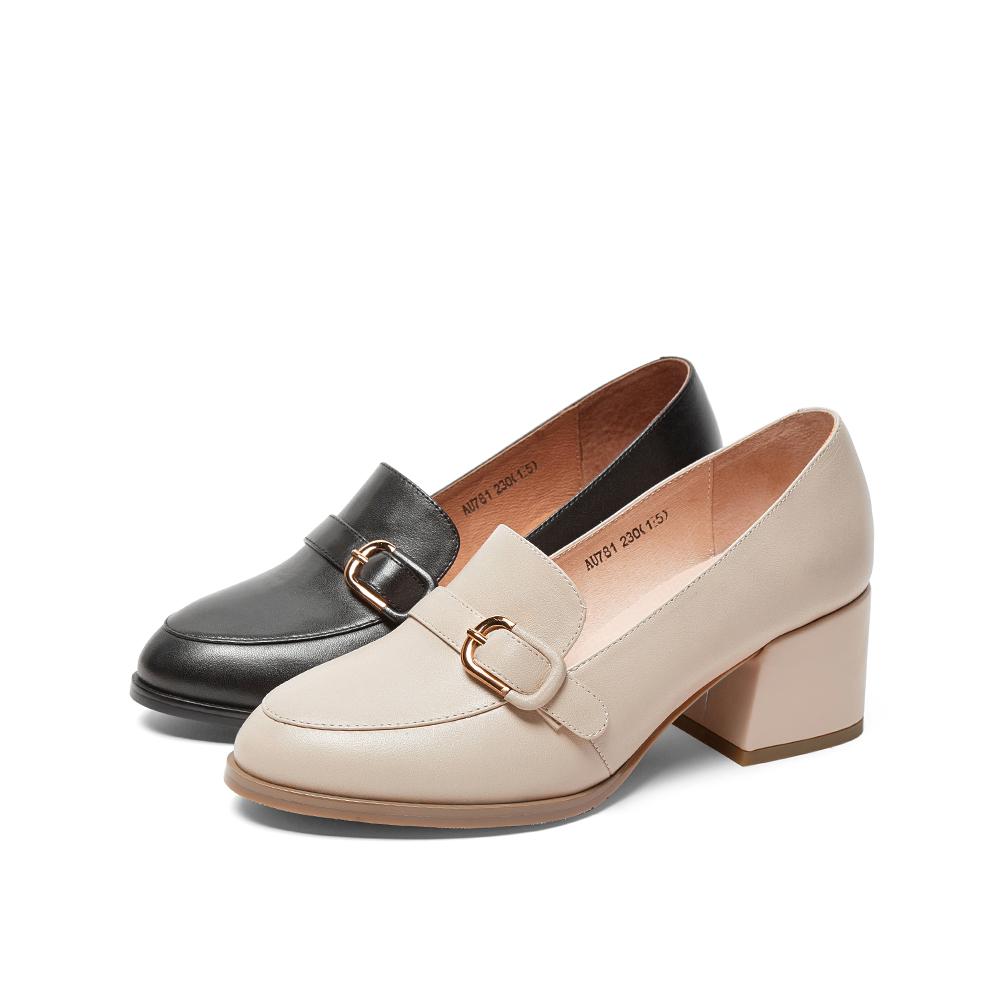 AU781CQ9 秋 2019 天美意粗跟单鞋女英伦风皮带扣小皮鞋 商场同款