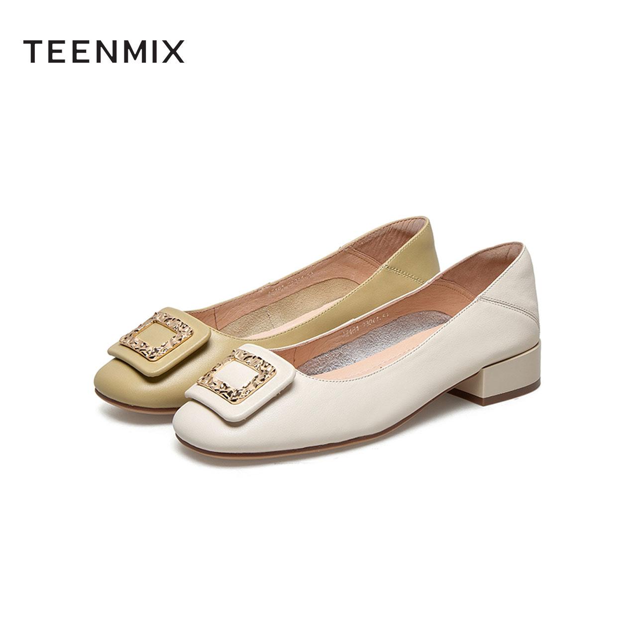 AZ181AQ1 春新商场同款拼色休闲皮鞋 2021 天美意浅口单鞋女低跟皮鞋
