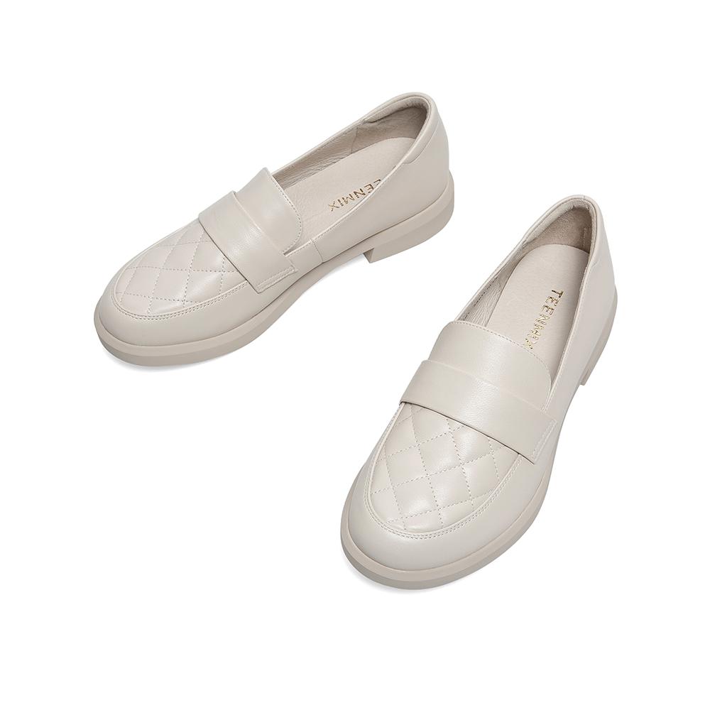 6EX01CQ0 秋新款商场同款气质粗跟皮鞋女休闲乐福鞋单鞋 2020 天美意