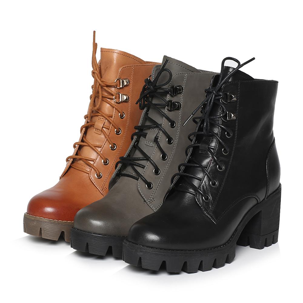 6E845DD6 天美意专柜同款牛皮厚底粗高跟马丁靴女靴短靴绒里