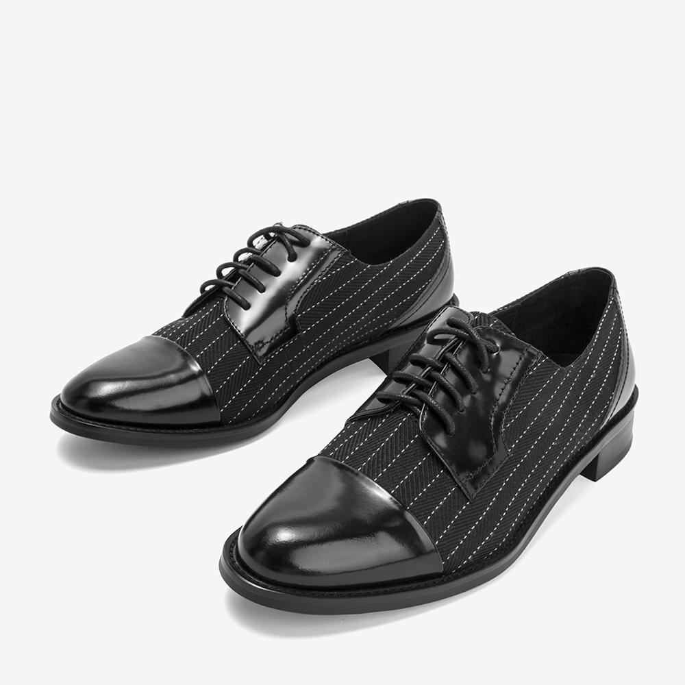 2BG20CM8 秋专柜同款拼接条纹布英伦绑带休闲女单鞋 2018 他她 Tata