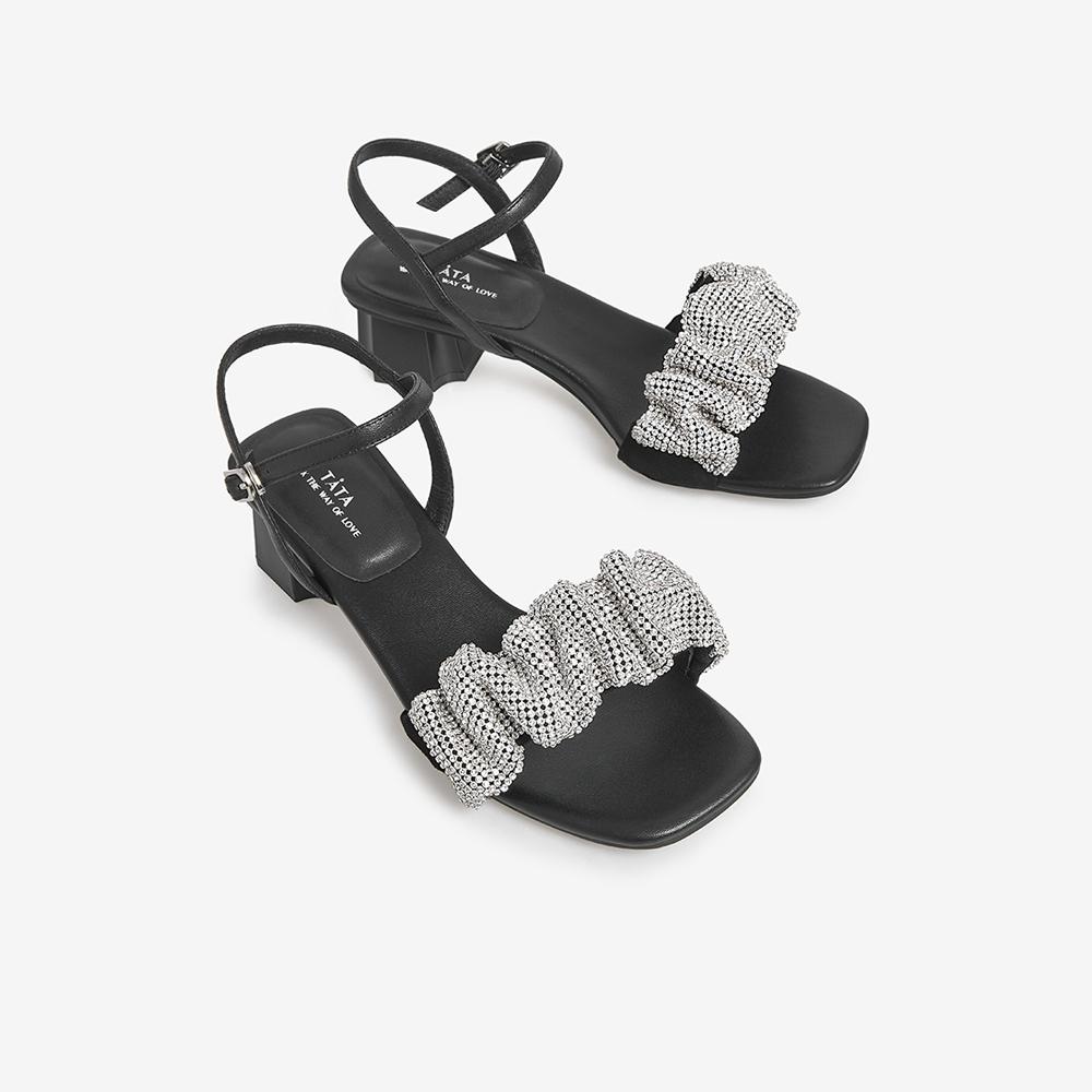 XNI04BL1 夏一字带新款时尚凉鞋仙女风女鞋新款 2021 他她 Tata