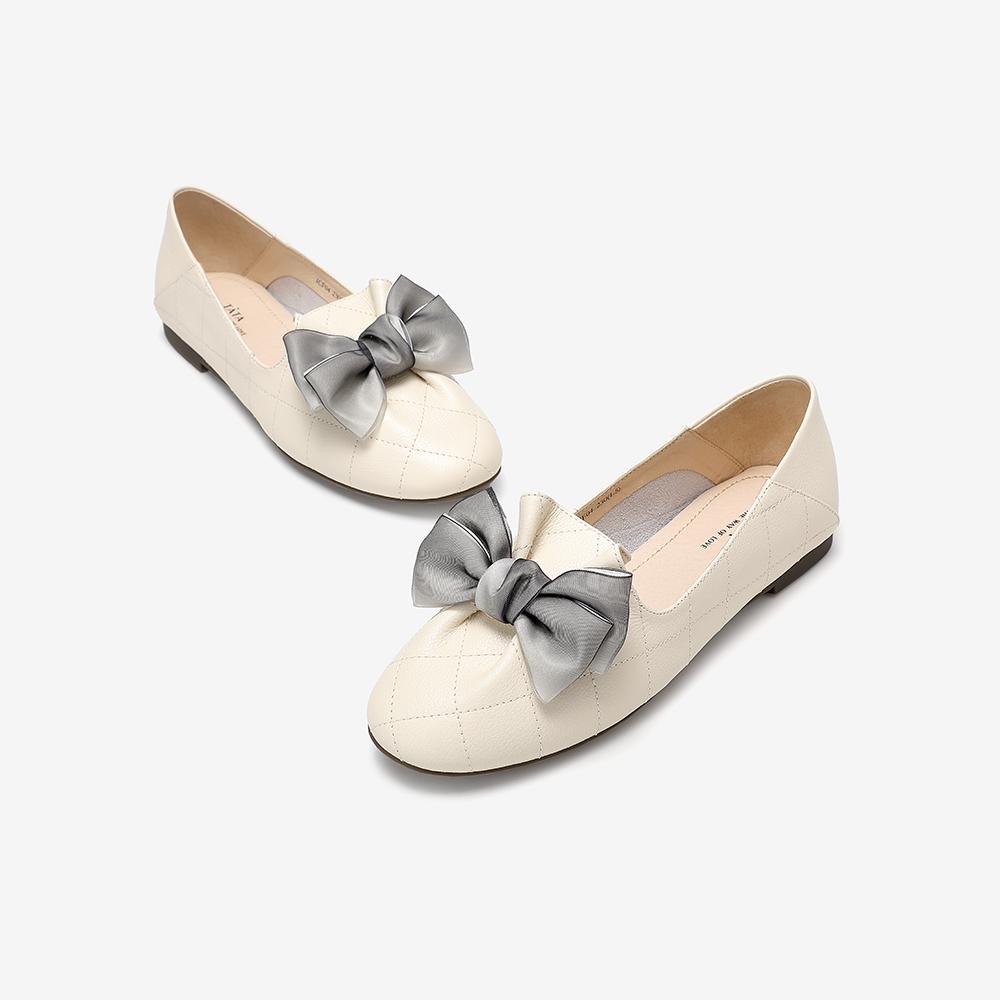 ICF04CQ0 秋专柜同款浅口蝴蝶结奶奶鞋平低跟女鞋新 2020 他她 Tata