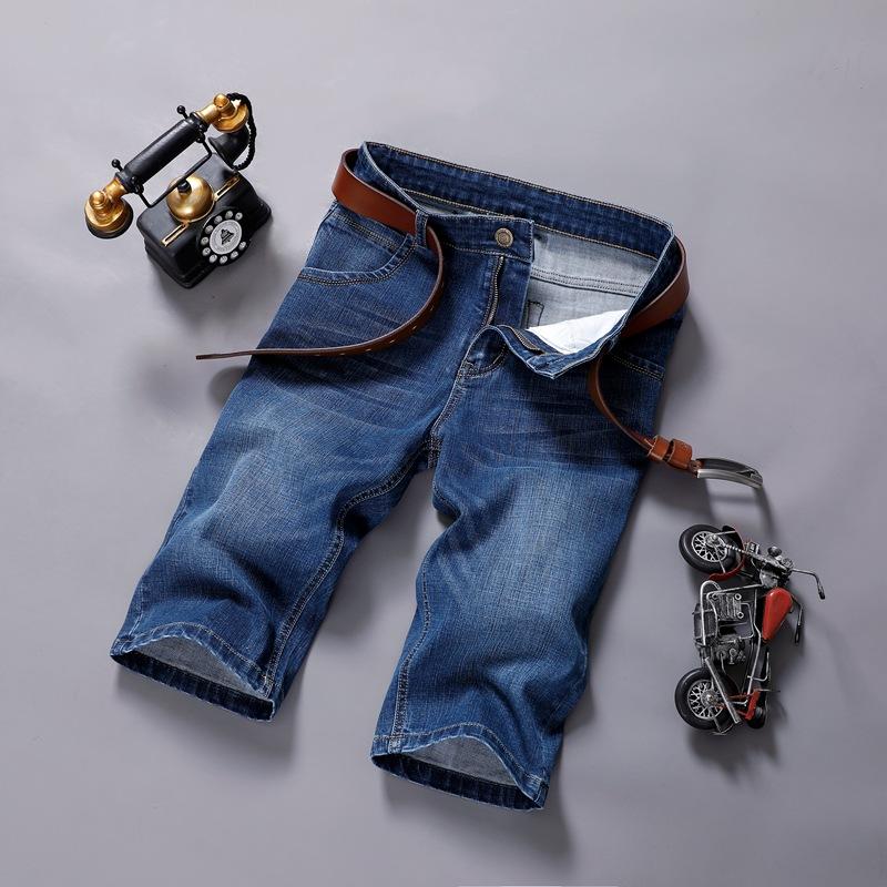 夏季薄款牛仔短裤男士五分裤休闲裤子七分裤中裤宽松直筒弹力马裤主图