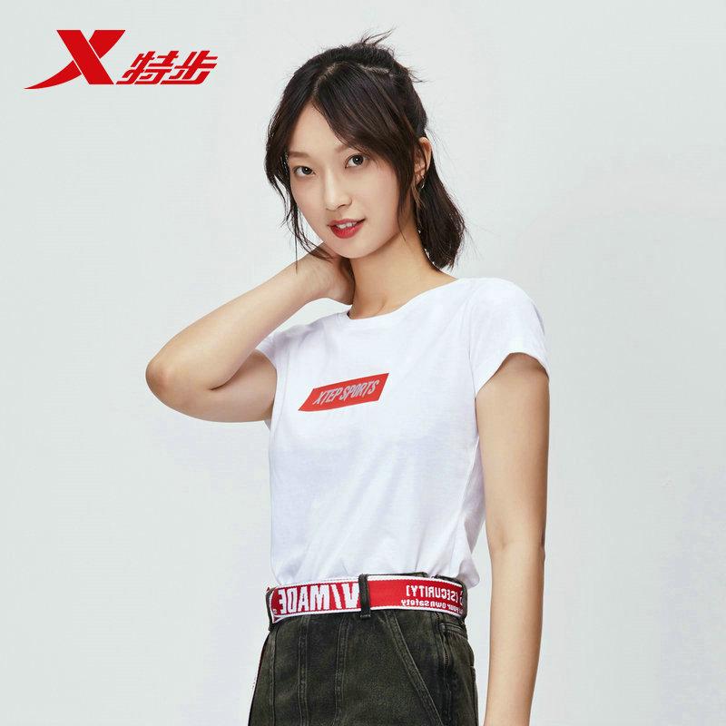 特步女装T恤女2020夏新款圆领宽松半袖休闲运动短袖T恤潮上衣女子