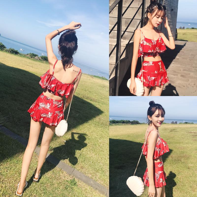 泳衣女性感2019新款夏季分体保守小胸聚拢遮肚显瘦日系红色游泳衣