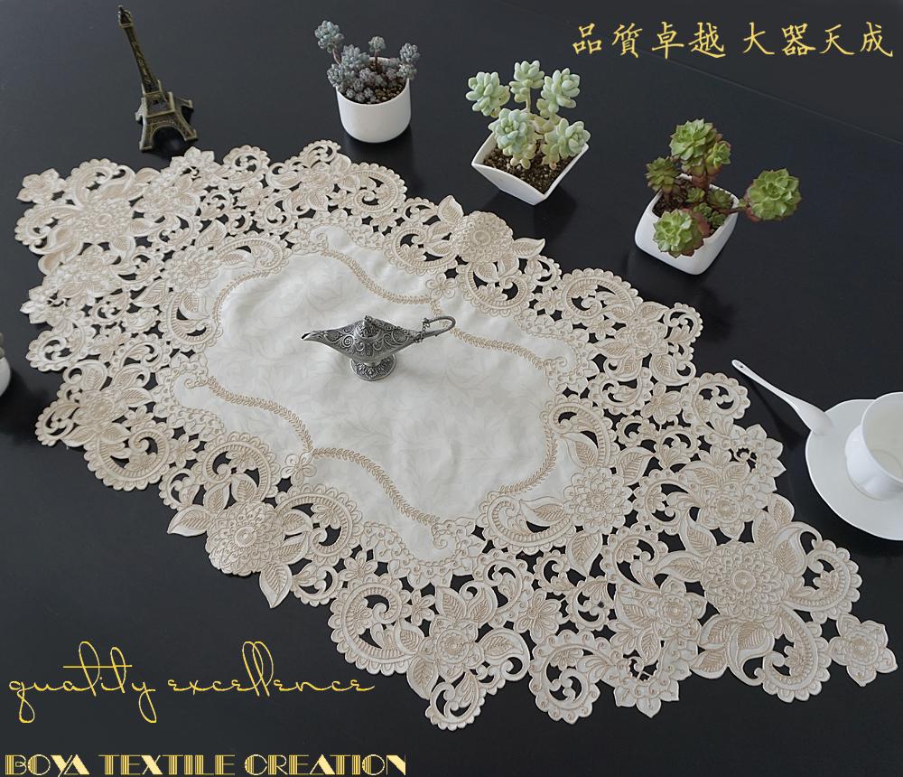 桌旗欧式刺绣布艺镂空茶几巾北欧美式乡村桌垫电视柜盖巾餐桌台布