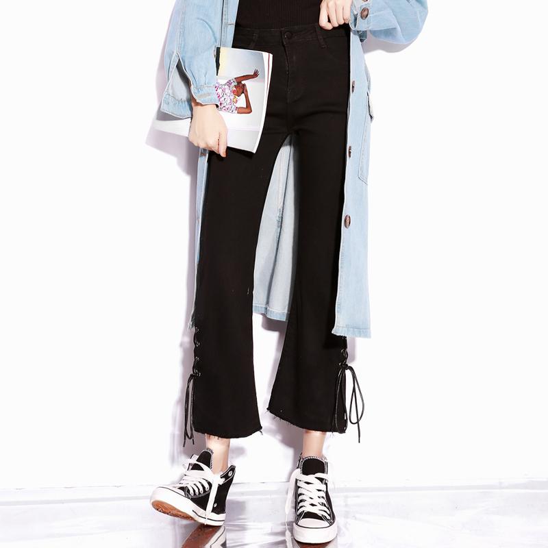 黑色喇叭裤女2021年春装款 韩版显瘦高腰微喇九分牛仔裤子小个子