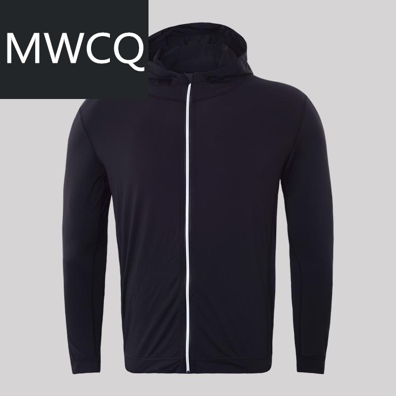 MWCQ户外运动速干健身开衫外套高弹透气男士时尚跑步连帽卫衣夹克