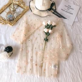 很仙的超仙薄款蕾丝防晒打底衫女长袖内搭网纱雪纺夏季上衣搭裙子