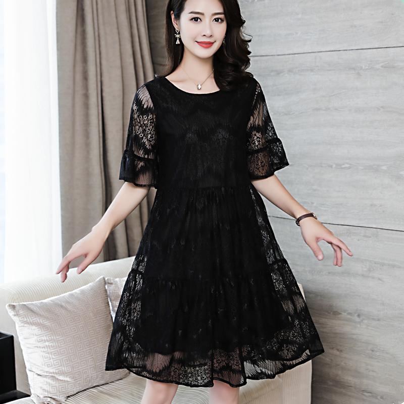 胖MM大码女装夏季新款200斤蕾丝大码女装宽松显瘦短袖蕾丝连衣裙