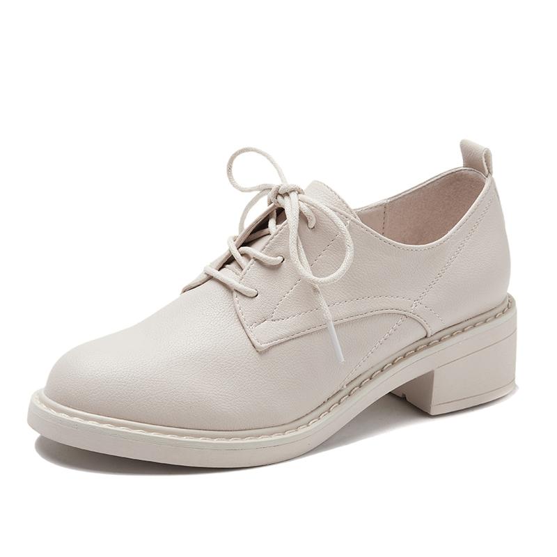 单鞋女2019新款春季英伦粗跟深口休闲系带小皮鞋中跟复古圆头女鞋