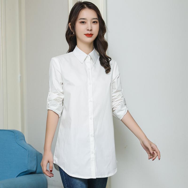 纯棉白衬衫女长袖上衣2021春秋装新款韩版宽松百搭中长款打底衬衣主图