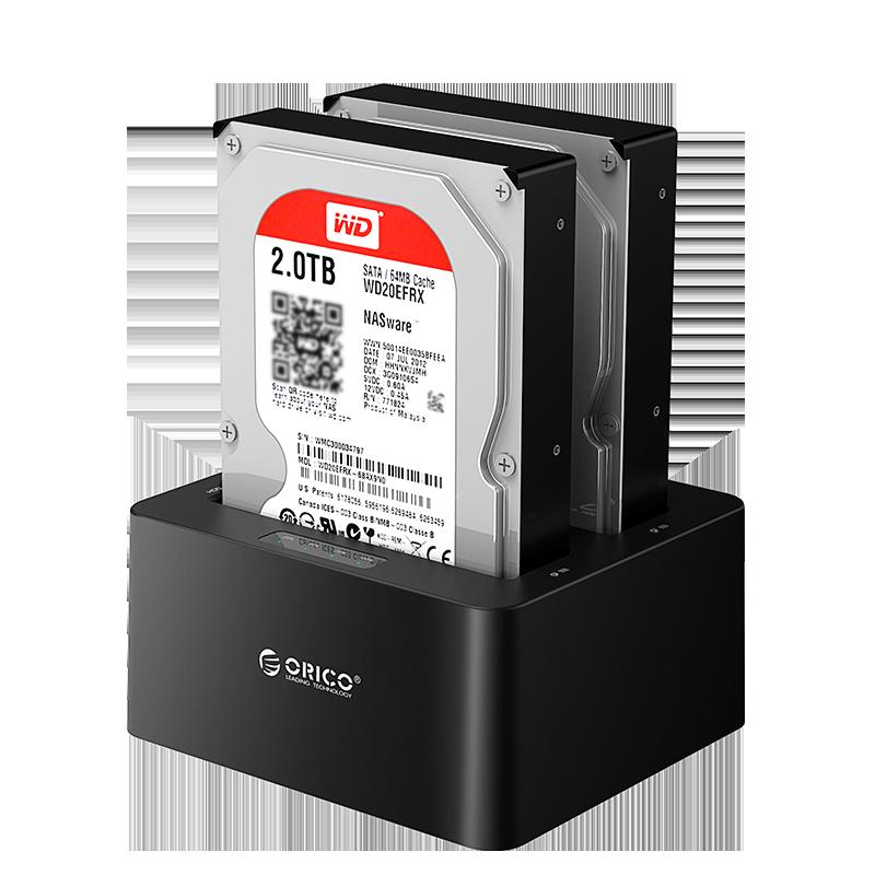 Orico 双盘位2.5/3.5寸移动硬盘盒拷贝底座外置壳串口sata通用固态硬盘拷贝机读取盒外接usb3.0读取保护底座