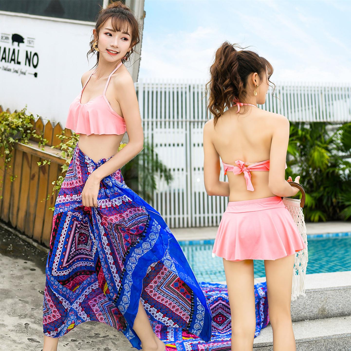 泳衣女三件套韓國溫泉小香風泳裝性感比基尼2019新款沙灘裙游泳衣