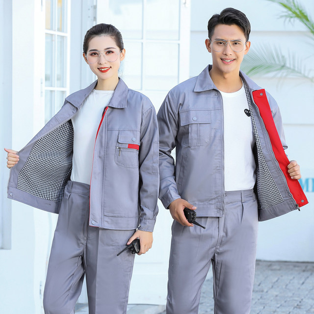 Autumn and winter long-sleeved double-layer padded overalls suits cotton labor insurance clothes polyester-cotton men's outdoor warm property engineering clothes