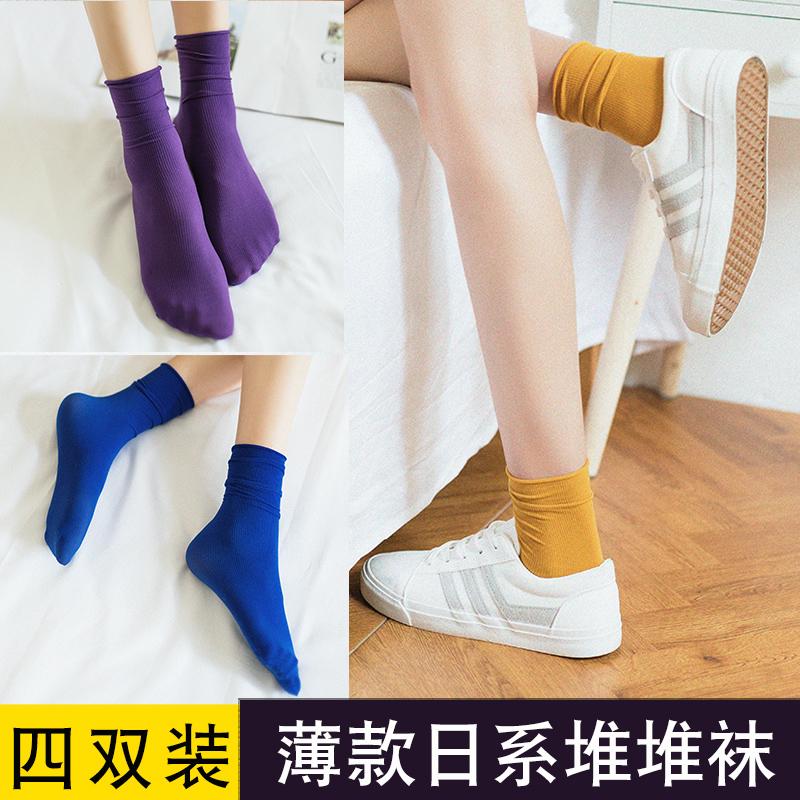 黑色袜子女中筒袜女夏季透气堆堆袜女薄款 潮长袜女潮街头夏天  ins