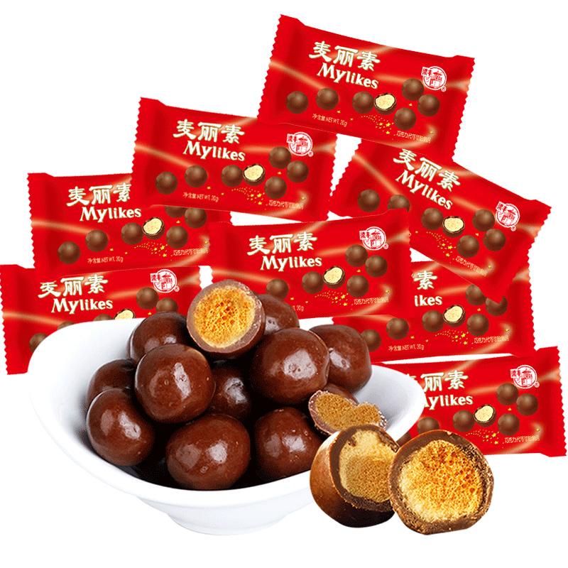 梁丰麦丽素巧克力豆朱古力抹茶怀旧麦咪零食儿童散装(代可可脂)