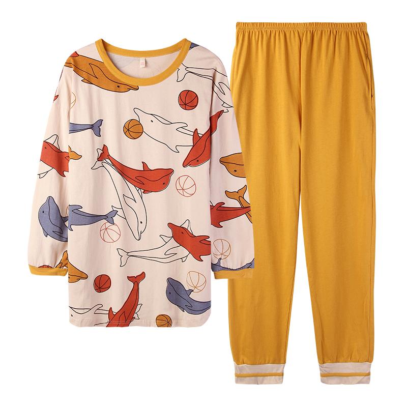 睡衣女春秋季纯棉长袖可外穿秋冬全棉2020年新款潮女士家居服套装 - 图3