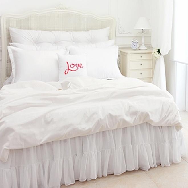 韩版热销白色纱织蕾丝贡缎纯棉全棉床罩床单床裙双人1.8M床2M床