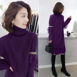 时尚紫色中长款针织气质连衣裙欧洲站春季女装2020新款欧货潮秋冬