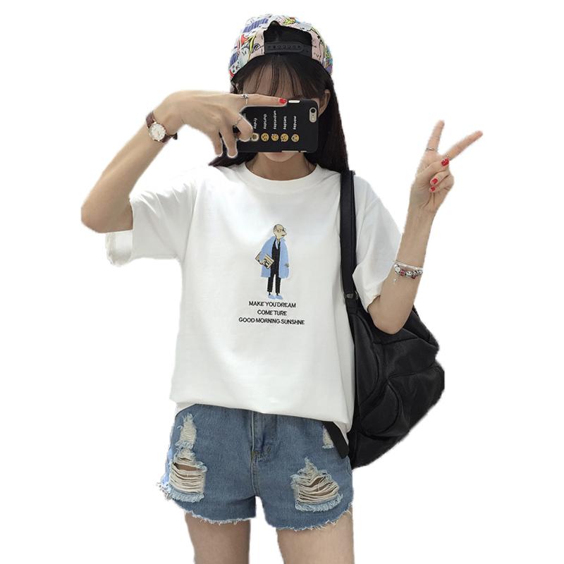 2017夏季新款女装上衣t恤 韩版修身打底衫棉白色女短袖时尚夏红帽