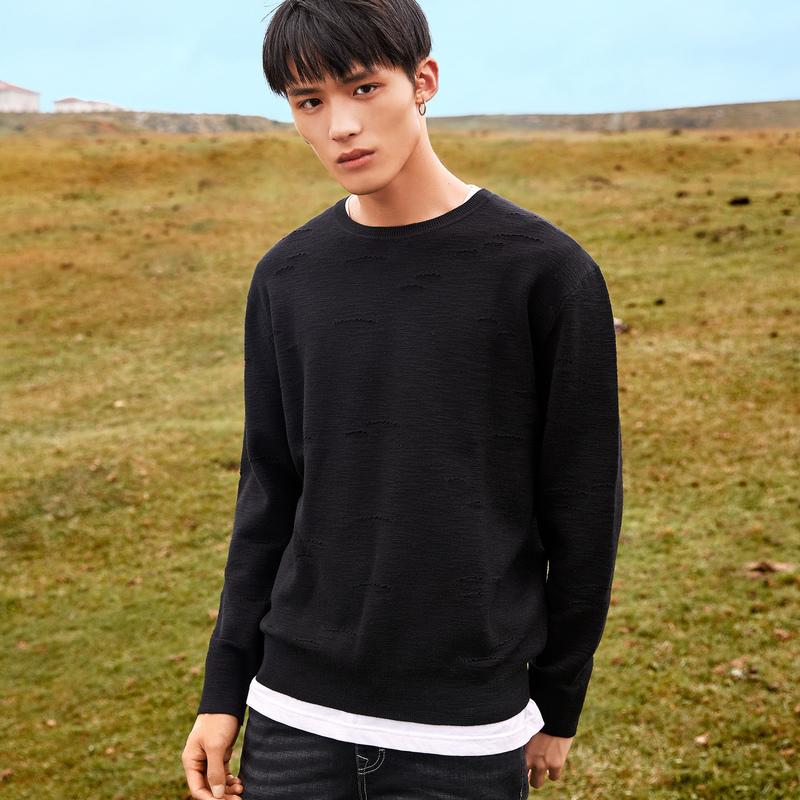 卡宾男装青年宽松长袖圆领针织衫潮流2018秋季新款港风套头毛衣H