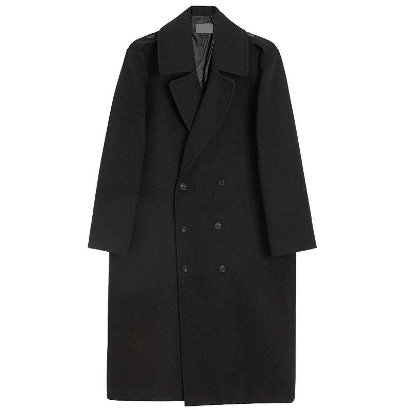 冬季毛呢大衣男士韩版宽松双排扣过膝呢子大衣男长款风衣羊绒外套