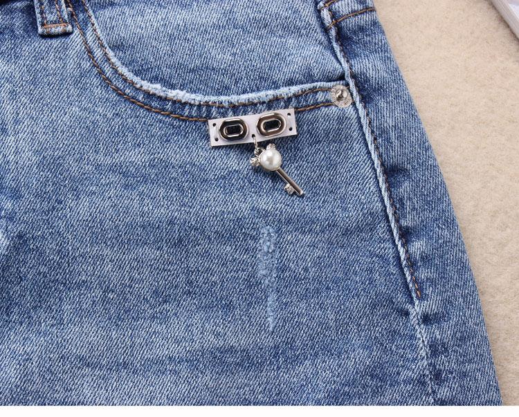 夏季韩版新款弹力牛仔裙短裙  字型开叉包臀裙一步裙显瘦 A 半身裙 18