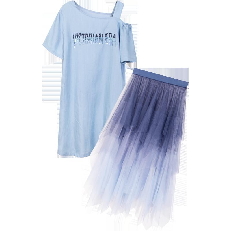 2019夏季新款網紅不規則網紗裙子露肩超仙女甜美連衣裙套裝兩件套