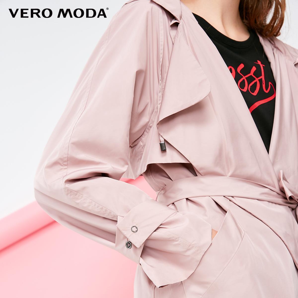 318321504 新款翻领连帽系带中长款风衣外套女 VeroModa 折 5 件 2
