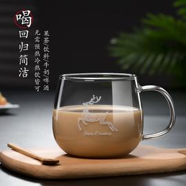 加厚款透明耐热玻璃杯子带勺子可爱水杯带盖家用咖啡杯创意茶杯女